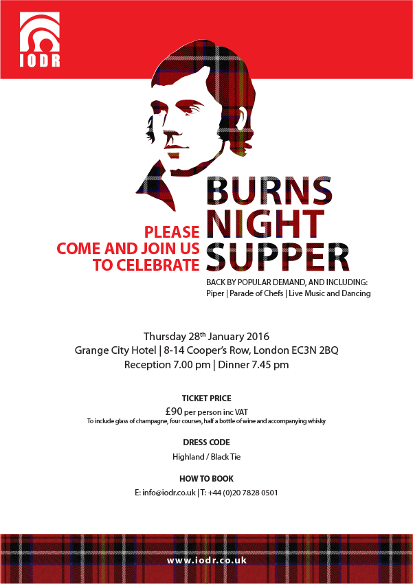 Burns Night Supper - 28 Jan 2016 - Grange City Hotel - London